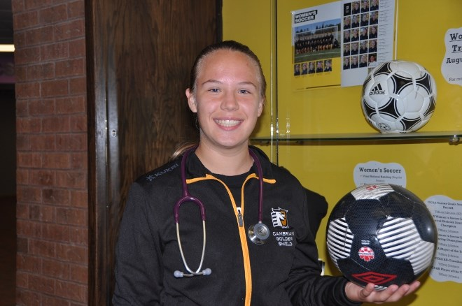Jess Hayward, of Acton, Ont., is starting her paramedic program studies at Cambrian as the college reports it has broken last year's enrolment record.