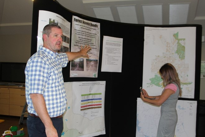 Mark Lockhart, general manager for Vermillion Forest Management, leads audience members and those watching on live stream through some of the key areas of the proposed Sudbury Forest Management Plan, including wildlife habitat concerns, road building and harvesting practices. (Karen McKinley photo)
