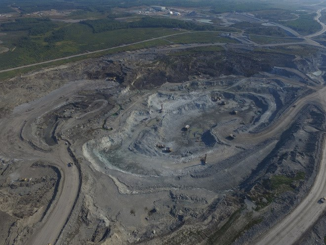 New Gold's Rainy River open-pit mine, northwest of Fort Frances