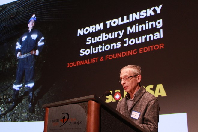 Norm Tollinsky, longtime journalist and editor of Sudbury Mining Solutions Journal, gives his acceptance speech after being inducted into the Mining Hall of Fame. He is the first journalist to be inducted into the hall of fame.