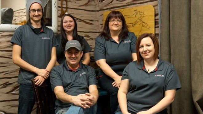Staff at Countdown Escape Rooms Thunder Bay includes (clockwise from left) builder and gamemaster Matthew Audet, weekend manager Tessa Lanteigne, owner Marcy Audet, daytime manager Cassandra Kajda, and owner Mario Audet. (Photo supplied)