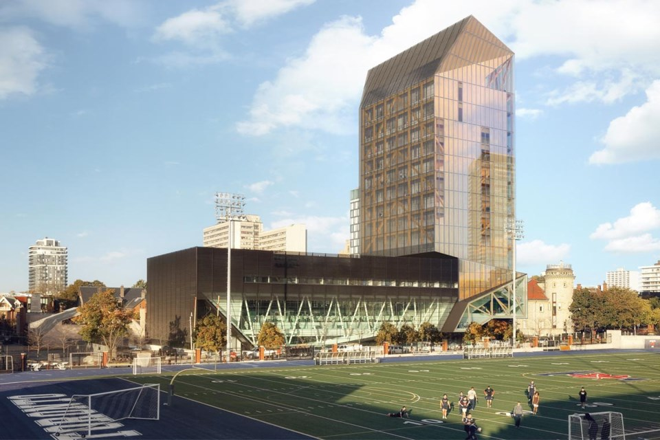 The University of Toronto's 14-storey academic tower will be built with cross-laminated timber, and will be funded in part by government subsidies through the Ontario Mass Timber Program. (MJMA and Patkau Architects illustration)
