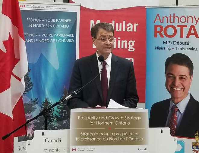 Nipissing-Timiskaming MP Anthony Rota announced a $750,000 FedNor loan for Drillco to develop its modular drilling system. (Supplied photos)