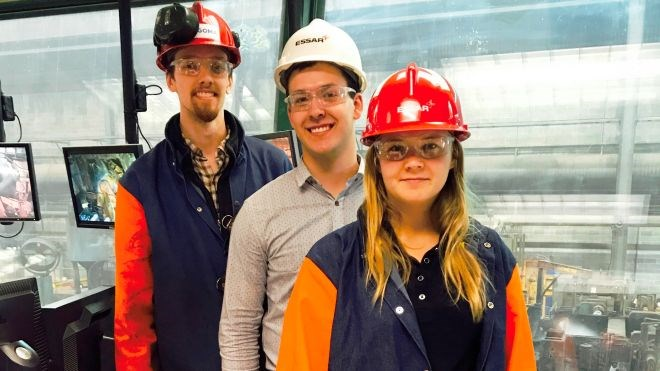 Graduate engineer trainees on assignment in Algoma's Direct Strip Production Complex. As part of the program, participants are rotated through a number of departments at the Sault company to prepare them for their future roles at the company. (Algoma photo)