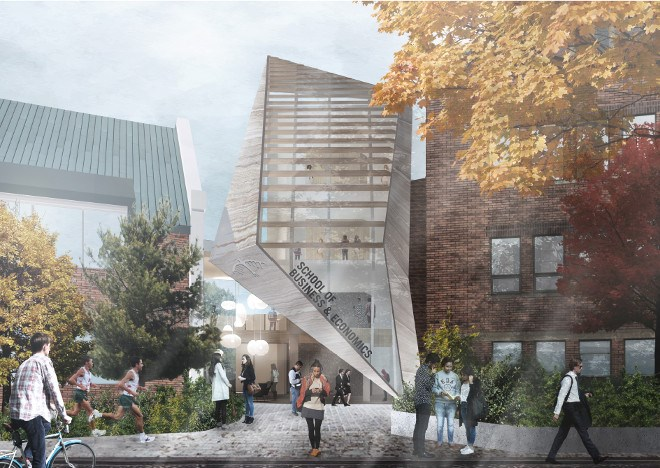 Schematic renderings drawn up by architecture firm Lebel & Bouliane depict what Algoma University's new School of Business and Economics might look like once completed. (Supplied image)