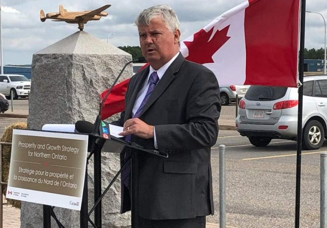 On Aug. 26, Sault Ste. Marie MP Terry Sheehan announced $1.8 million for infrastructure upgrades at the Sault Ste. Airport. (Twitter photo)