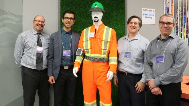 The engineering group at Jannatec Technologies demonstrated its wearable technology at the Sudbury company's recent open house. From left are Jason Buie, manager of research and development; Kevin Reynen, product designer; Steffon Luoma, senior research scientist; and Dan O'Connell, electronics technologist. (Lindsay Kelly photo)