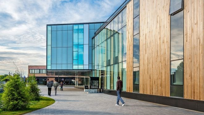 The McEwen School of Architecture in Sudbury was awarded the Institutional Wood Design Award (over $10 million) by Wood WORKS!