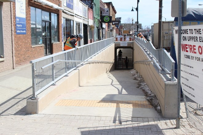 Work on the Elgin Street underpass was completed in March. It's the first component of Sudbury's Elgin Greenway to see completion. (Matt Durnan photo)