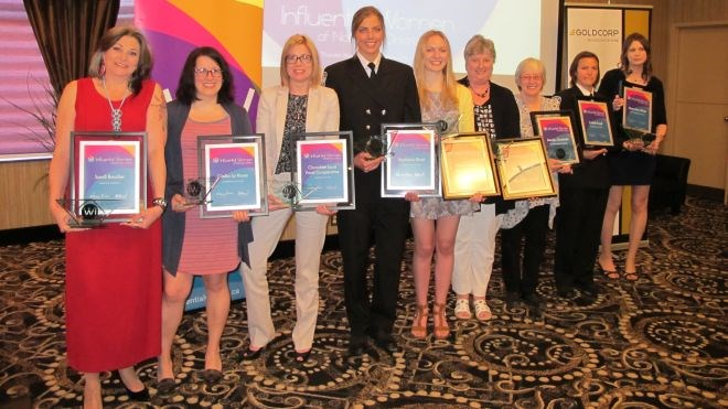 Influential Women Award winners include (from left): Sandi Boucher, Aboriginal Leadership; Nadia La Russa, Entrepreneur of the Year; Stephanie Drost, Tradeswoman of the Year; Peyton Harris, Young Influential Essay Scholarship; Joanne Berube, Executive of the Year; Marilyn Grudniski, Influential Community Trailblazer; Ceilidh Boyd, Tradeswoman of the Year; and Sherri-Ann White, Young Entrepreneur of the Year.
