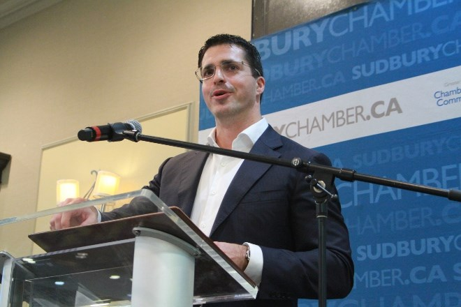 Perer Xavier, vice-president, Sudbury Integrated Nickel Operations, a Glencore Company, talks about the corporation's Onaping Depth project at a Sudbury Chamber of Commerce luncheon at the Holiday Inn on Nov. 6. (Karen McKinley photo)