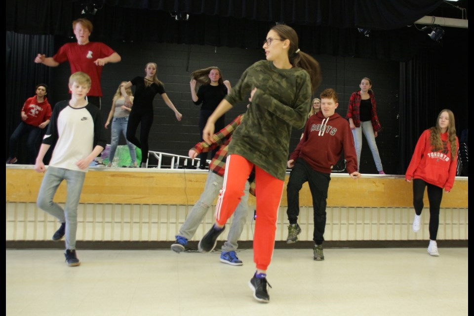Contemporary and street dancer and choreographer, Emily Law, (front) leads a workshop Wednesday at Twin Lakes Secondary School, as part of the Artist in Residence programming being brought to the area by the Huronia Cultural Campus.