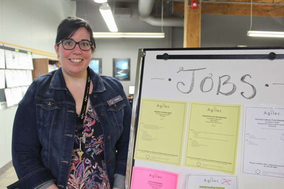 Debbie Stangolis, project co-ordinator and team leader at Agilec in Orillia, says there are plenty of employment opportunities at this time of year. Nathan Taylor/OrilliaMatters