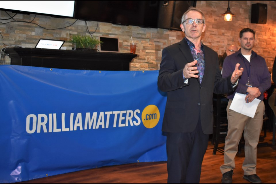 Simcoe North MP Bruce Stanton provided remarks at Monday's launch party of Orillia Matters. More than 75 people jammed into Studabakers for the open house and to meet the team behind the city's new digital news site.
