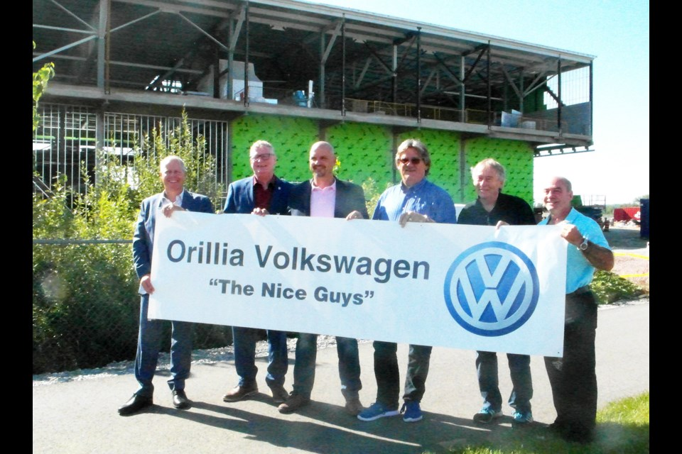 Orillia Volkswagen made a $50,000 donation to the Orillia Recreation Centre project Friday for naming rights to the WiFi at the West Street complex, which is set to open in 2019. Pictured, from left: Chris Leavens (Orillia Volkswagen), Mayor Steve Clarke, Colin Koprowski (Orillia Volkswagen), Mike Davenport (Orillia Recreation Centre Fundraising Committee), Wes Trinier (Orillia Recreation Centre Fundraising Committee) and Paul Valle (Orillia Recreation Centre Fundraising Committee). Submitted photo