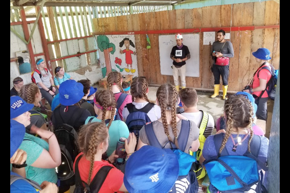 Students from Patrick Fogarty Catholic Secondary School in Orillia are all ears as they prepare to get to work on a school on Ecuador. Supplied photo