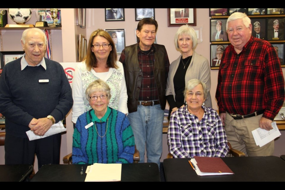 The 2019 Executive of the Orillia Duplicate Bridge Club. Standing: Art Berdusco, Janice Upenieks, Jim Coote, Jan Cooke and Bill Belfour. Seated: Shannon Berdusco and Jane Foster.