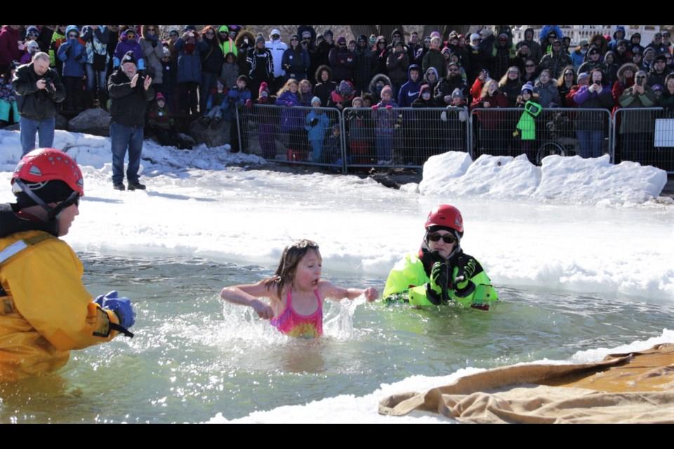 Ramara resident Infiniti Landry, 9, participated in the polar dip in Orillia last year. The new Severn Winterfest will feature a polar bear dip! Mehreen Shahid/OrilliaMatters