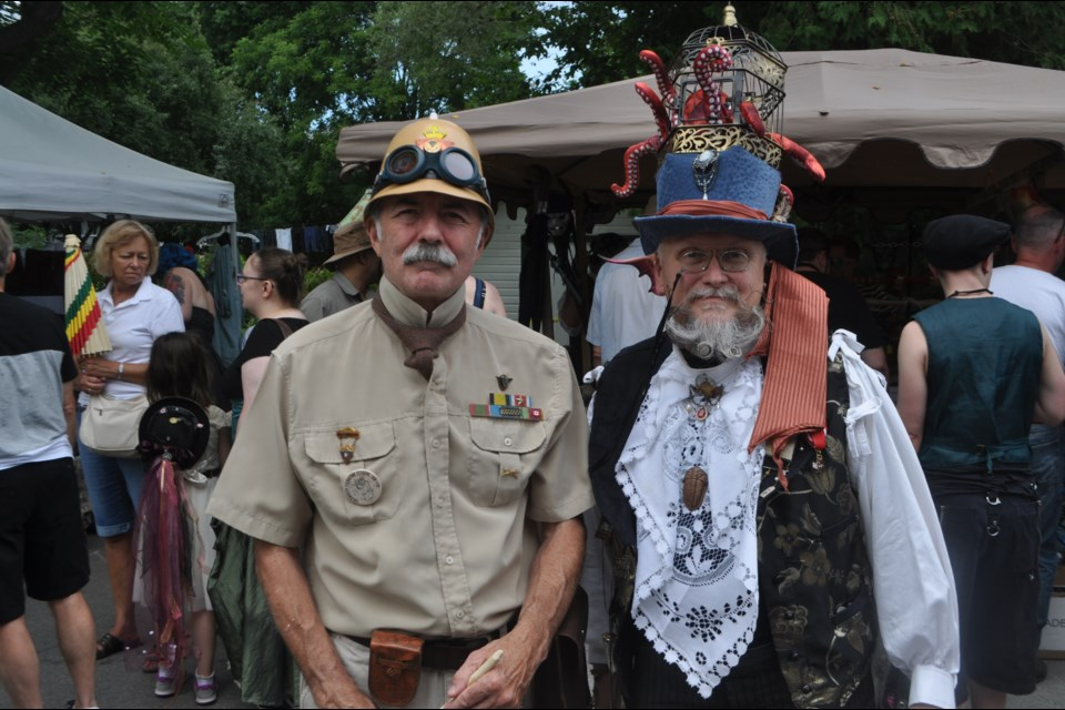 Randolph Rice, from Barrie, left, dressed up as a soldier based in India circa 1890 while Toronto's John Sproule followed the festival's oceanic theme. Andrew Philips/OrilliaMatters