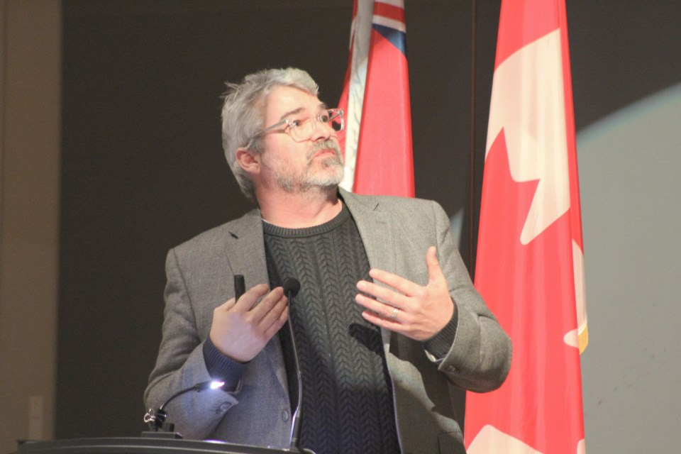 Glen Canning, father of Rehtaeh Parsons, speaks Thursday at OPP General Headquarters in Orillia during a ceremony to mark the National Day of Remembrance and Action on Violence Against Women. Nathan Taylor/OrilliaMatters