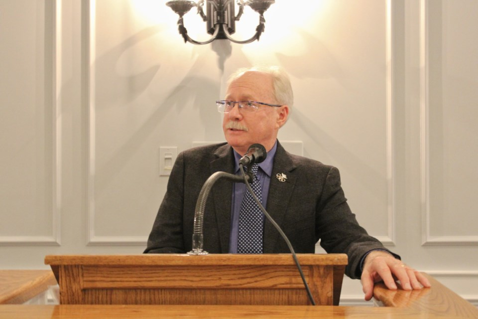 Larry Bell speaks Tuesday at the Hawk Ridge Golf and Country Club, where he received the William (Bill) Swinimer Business Leader of the Year Award. Nathan Taylor/OrilliaMatters