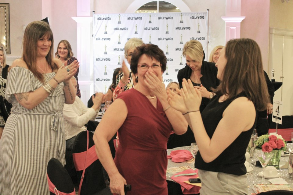 Tammy Kirkwood reacts Wednesday after winning the Nelle Carter Woman of the Year award. Nathan Taylor/OrilliaMatters