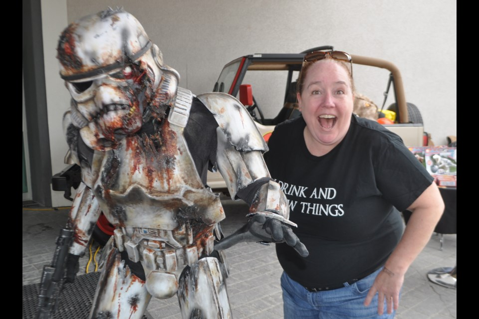 Midland resident Alison Clarke is pictured with a zombie stormtrooper during Cottage CountryCon. Andrew Philips/OrilliaMatters