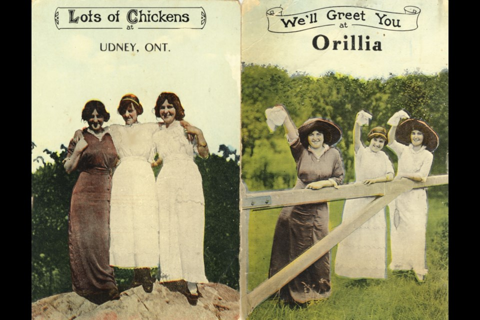 Live models were photographed to produce a stock card on which publishers imprinted the name of the town or city.