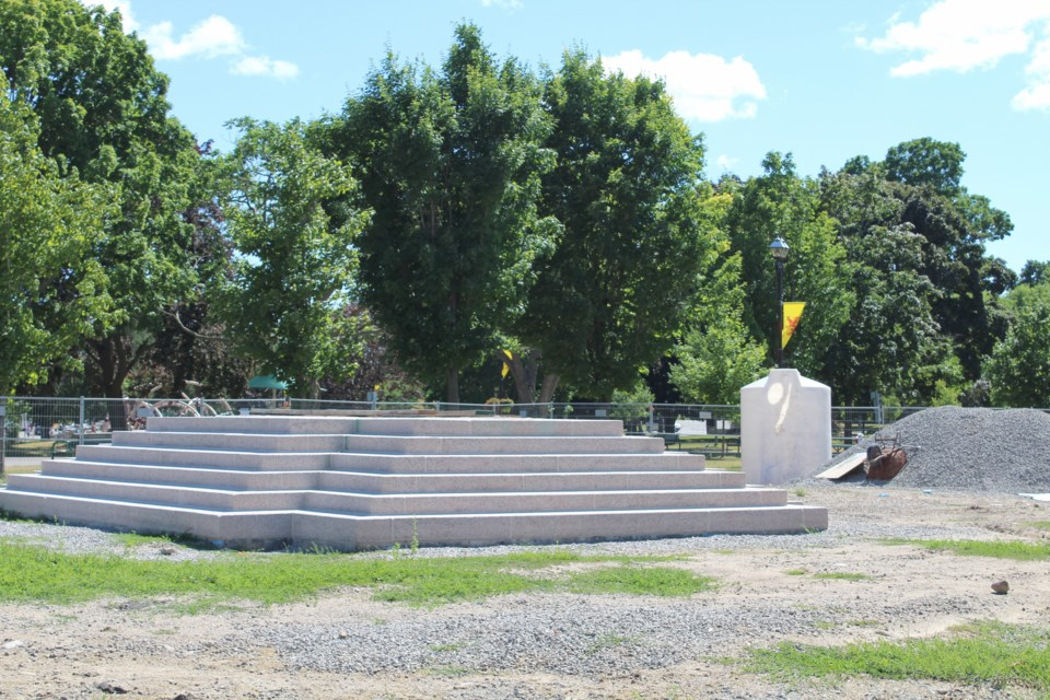 The new base for the Champlain Monument is in place at Couchiching Beach Park, but Parks Canada has put the brakes on the monument's restoration. Nathan Taylor/OrilliaMatters
