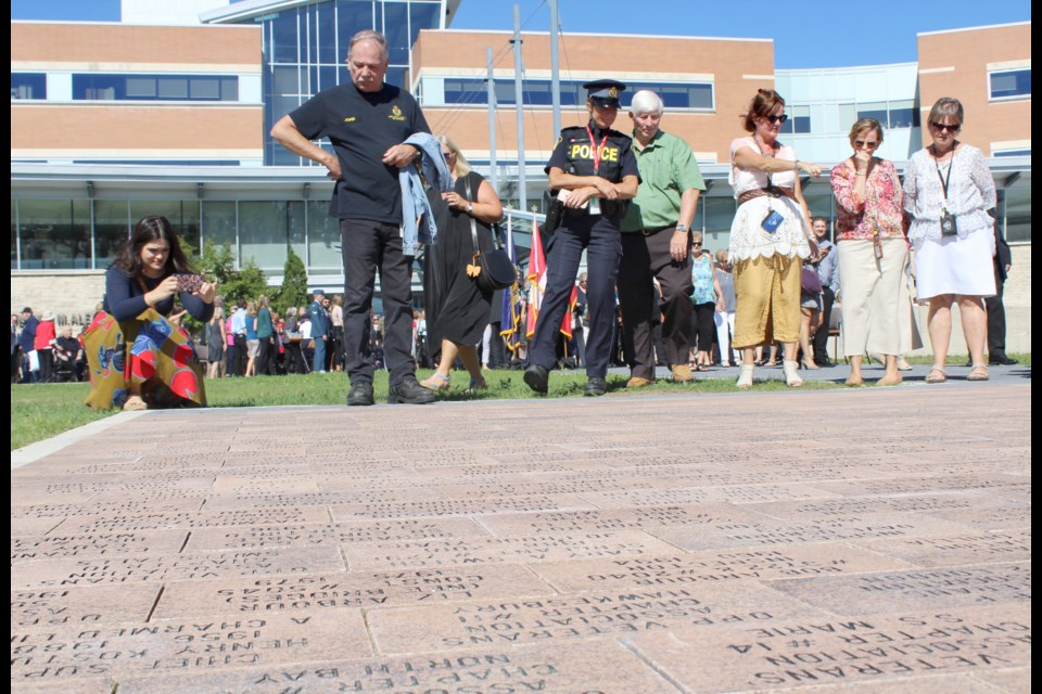 The Pathway of Memories was unveiled Thursday at OPP General Headquarters in Orillia. Nathan Taylor/OrilliaMatters