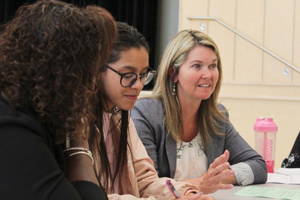 Simcoe North MPP Jill Dunlop, right, was one of seven current or former politicians taking part in Wednesday's Women in Politics speed-networking event at Orillia Secondary School. Nathan Taylor/OrilliaMatters