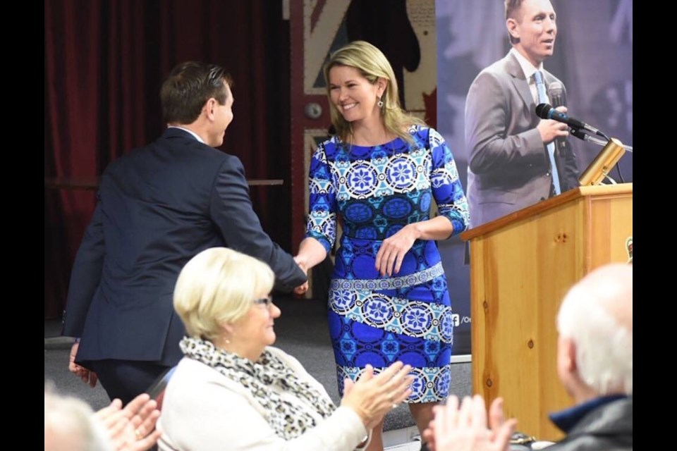 Simcoe North PC candidate Jill Dunlop shakes hands with Patrick Brown who, at the time, was the leader of the party.