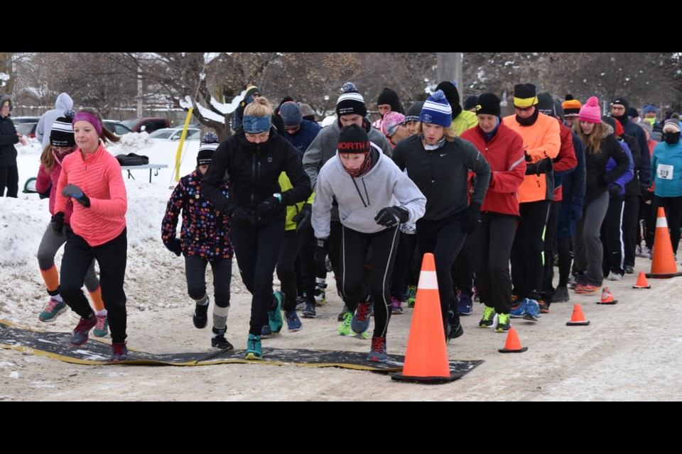 And, they're off! About 160 runners start the last race of the four-even Orillia Snowflake Series Sunday morning. The event also serves as a fundraiser for The Sharing Place food bank. Dave Dawson/Orillia Matters