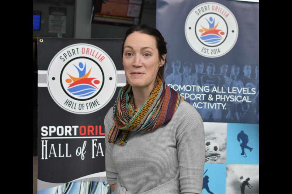 Jayme Davis (Beard) said she was honoured to be inducted into the Orillia Sports Hall of Fame while speaking at a media conference at Rotary Place Friday. Dave Dawson/OrilliaMatters