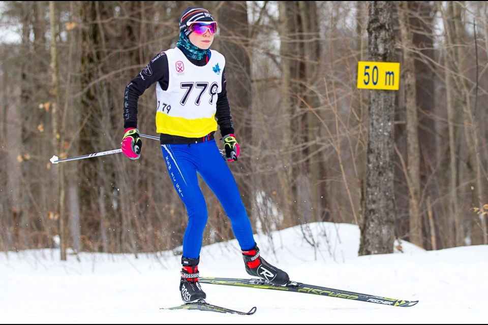 Anna Jaklova shows the form that helped her ski to two gold medals and a silver medal at the Eastern Ontario Championships recently. It was a strong showing for the Lifeski Academy Ski Club in its inaugural season of competition.