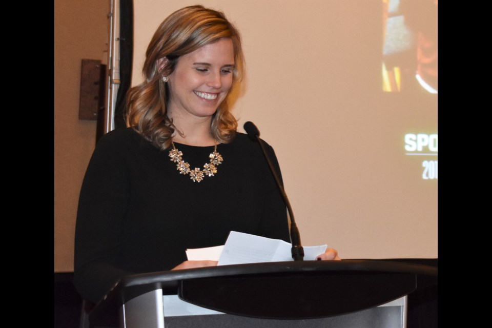 Brittney Fess said she was humbled to be inducted into the Orillia Sports Hall of Fame. The gala was held Saturday night at Casino Rama. Dave Dawson/OrilliaMatters