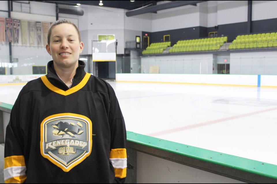 Betsy Maus, director of the Orillia Ladies Hockey League, is shown at Rotary Place, where the league holds games every Sunday. Nathan Taylor/OrilliaMatters