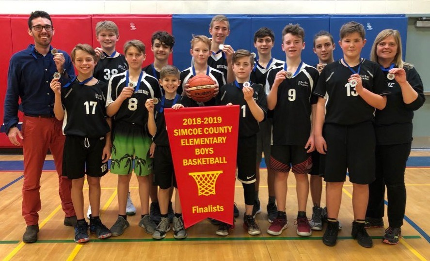 Notre Dame Catholic Secondary Elementary School made it to the finals of the Simcoe County championship this week. From left, Coach JJ Healy, Lukas Hagman, Ben Osburn, Carter Balkwill, Alex May, Cohen Robitaille, Parker Bucking,  Matthew Klingspohn, Ethan Loader, Johnny D'Agnillo, Dylan Pitman, Jared McIntyre, Logan Latour and Sandra Heitzner.