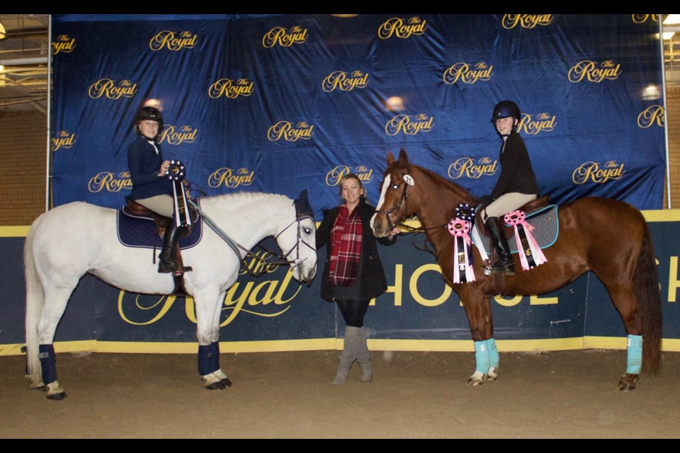 Hayden McCahon and Silver Rush are shown with Hayden's mom and coach, Heidi Mueller of Rushmount along with Sydney Freeman and her mount, No Rhyme or Reason. Submitted photo