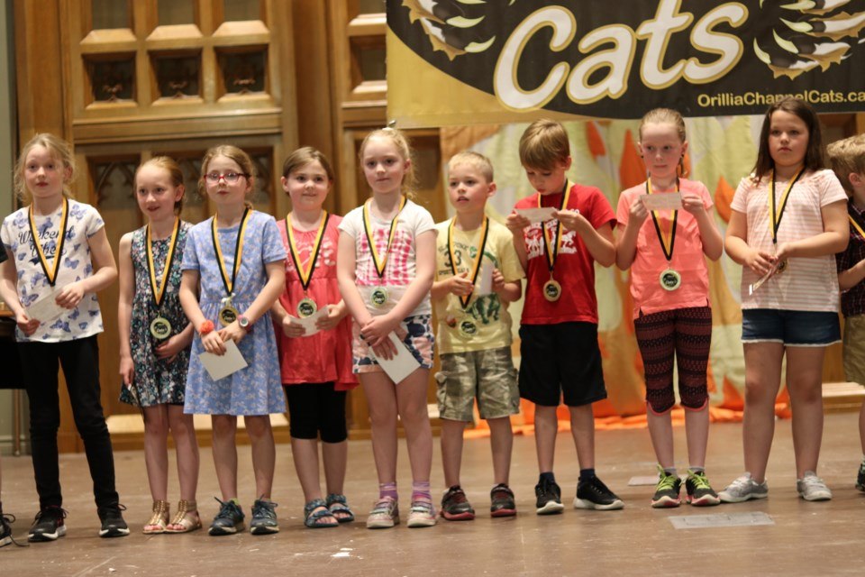 The youngest swimmers in Channel Kittens are shown with their medals at the banquet. Submitted photo
