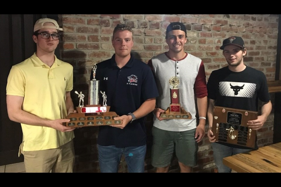 The team award members include, from left: Logan Matthews and Mitch Goode, co-winners of defensive player of the year, Cam Murphy (most improved player),  and Graydon McDonald (Mmost dedicated player).