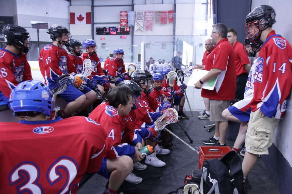 The coach of the Orillia bantam Kings team rallies the troops during a game played at the Boyd Balkwill Memorial Tournament this weekend at Rotary Place. Mehreen Shahid/OrilliaMatters