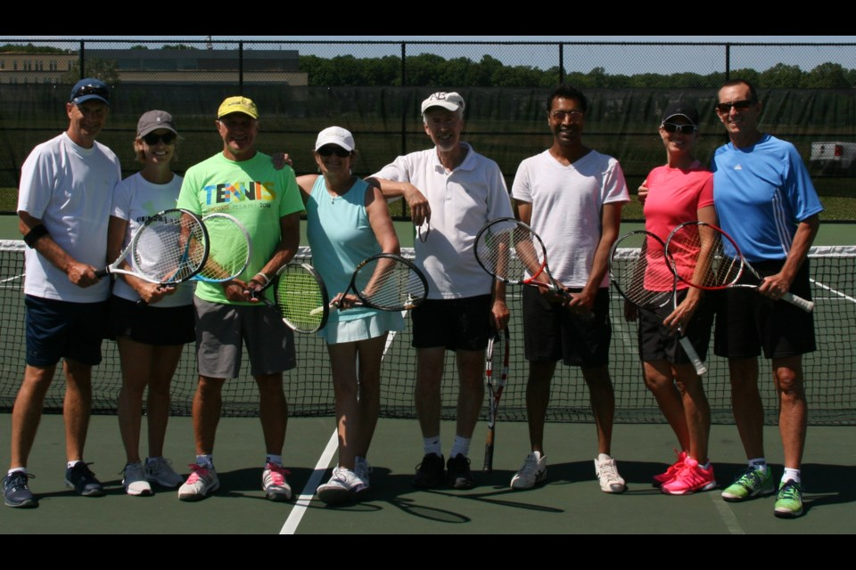Team Volley won the Orillia Tennis Club's first annual Davis Cup-style tournament at the West Orillia Sports Complex. From left: Ken Brownlee, Shannon Kearns, Peter Koehli, Terry Gould, Colin Old, Apurva Patel, Kathryn Campbell and Rob Campbell. Absent: Heather Koehli