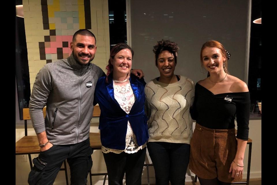 Left to right, Kenny Caceros (speaker), Mandy Lunan (speaker), Clary Chambers (speaker), Reagan Bradley (host)