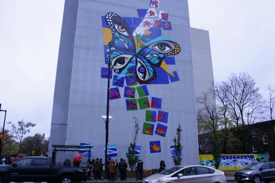 The mural titled Transformation sits on an outside wall of 215 Wurtemberg St. The mural reaches up to the ninth floor and was officially unveiled on Nov. 3, 2018. Connor Fraser/ OttawaMatters.com