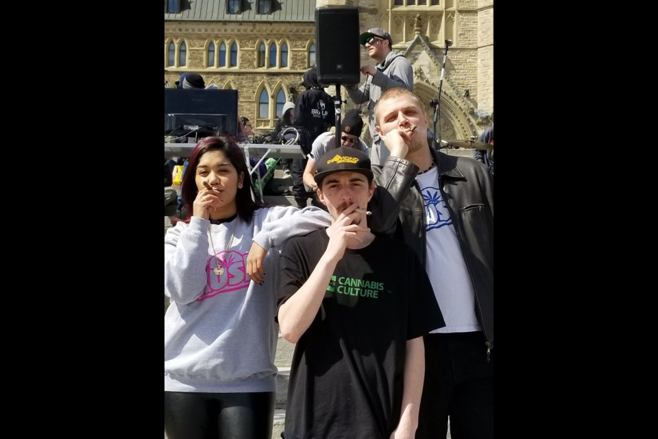 Ming, Shawn and Alex from Patients' Lives Matter on Parliament Hill for 420. Jenn Pritchard/OttawaMatters