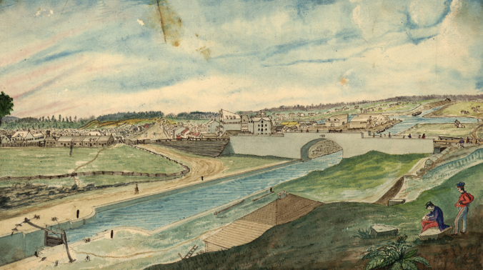 View of the Rideau Canal and Sappers' Bridge – Painting by Thomas Burrowes, c. 1845, Archives of Ontario, Wikipedia.