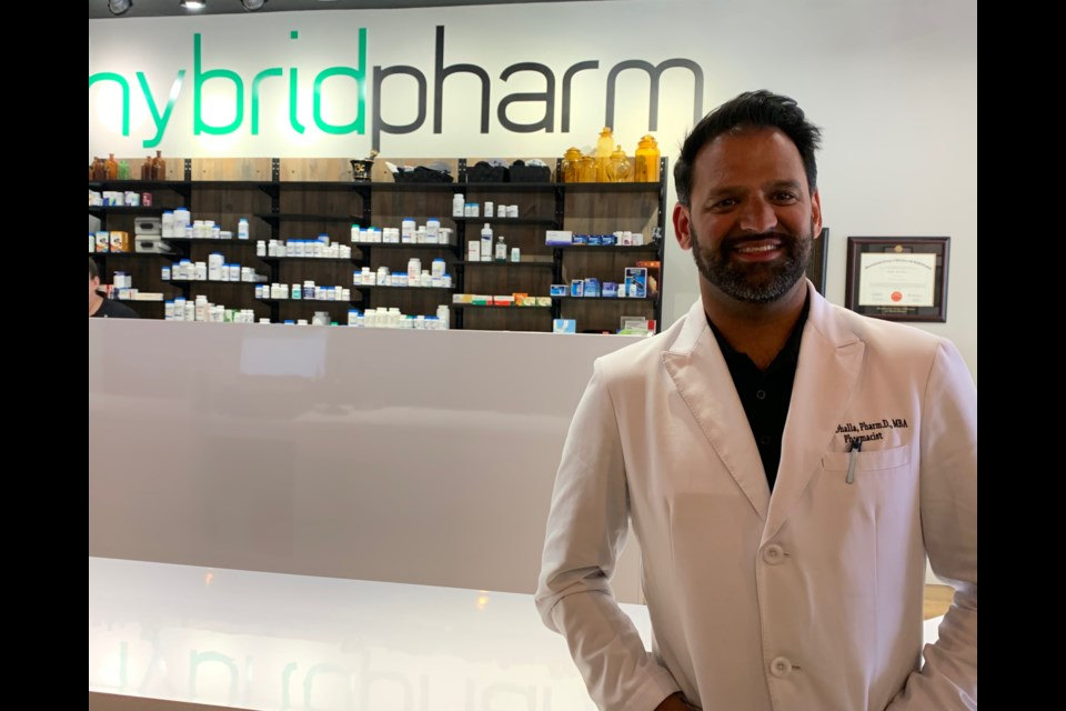 Dr. Rahim Dhalla pictured at his pharmacy hybridpharm in Westboro. He's pushing for more to be done for access to medical cannabis for patients. (Andrew Pinsent/OttawaMatters.com)