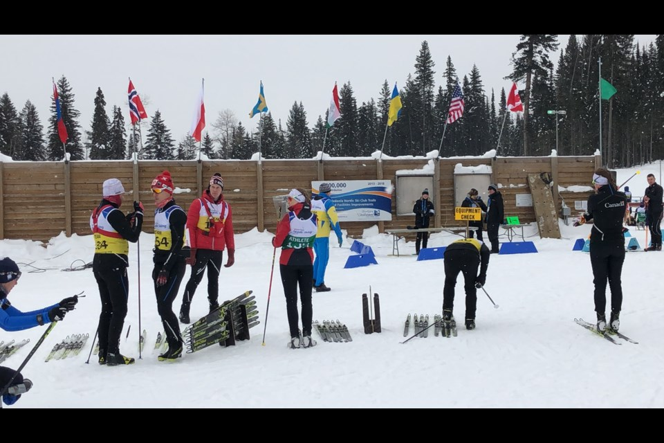 Team Canada gets their equipment checked during practice at the 2019 World Para Nordic Skiing Championships in Prince George (via Kyle Balzer)