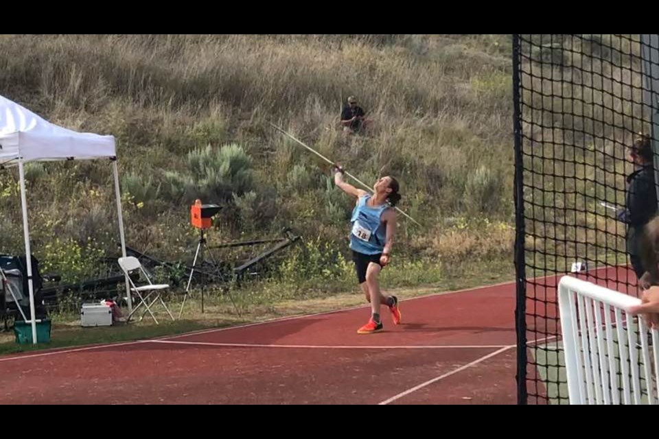 Prince George Track and Field's Linden Spencer puts all his strength into this javelin throw at the 2019 B.C. Club Championships in Kamloops (via Facebook/Heather Spencer)